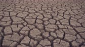The bottom of the dried lake, cracked soil