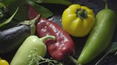 berenjenas : Vegetables, eggplant and pepper on a dark surface in drops of water Archivo de Video