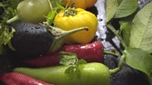 kind : Vegetables, eggplant and pepper on a dark surface in drops of water Stock Footage