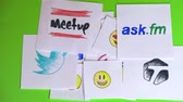 aletsiz : Placing pieces of paper with the logo of social networking. A variety of social networks and emoticons. Stop motion