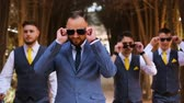 groomsmen : Groom have fun with friends Stock Footage