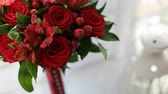 bloom : Beautiful red flower bouquet on the white background. Wedding bouquet. Close up