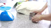 preparations : hands kneading dough for pizza