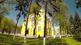 Panoramic shooting of the church in the park of Kiev