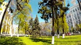 Panoramic shooting of a park with a yellow church in Kiev