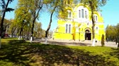 ás : Panoramic shooting of the St. Vladimirs Cathedral in Kiev Stock Footage