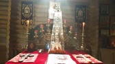 incenso : Throne in the altar of the Orthodox wooden church in Kiev