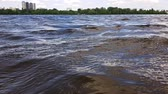 nyírfa : Waves on the water and soft clouds in the sky. Kiev, Ukraine Stock mozgókép
