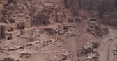 wadi : Petra Drone footage of Royal Tombs and Siq Stock Footage