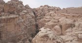 wadi : Petra White Canyon Areal footag Stock Footage