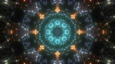 Fractal kaleidoscopic background with animated glowing neon colorful lines and geometric shapes.