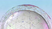 3d seamless animation white Earth globe rotating with global network. Stock Footage