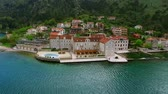 Elite hotel on the shore of Kotor Bay in Montenegro. Aerial shooting from a height with the help of a drone.