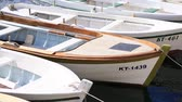 horizont nad vodou : Wooden boats on the water. In the Bay of Kotor in Montenegro. Marine boats. Dostupné videozáznamy