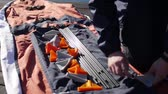 compor : Folding kayak. Assembling the kayak on the shore of the Bay of Kotor.