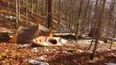 terreno extremo : Tent and kayak in the forest. Winter forest in Montenegro, National Park Biogradska Gora.