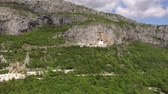 резной : Monastery of Ostrog in Montenegro. Aerial survey of drones.