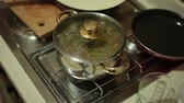 boiled potato : Soup in a pot on the stove. Cooking food. Boil soup. Stock Footage