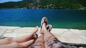 dorsz : Family legs on the beach. Parents with children on the beach. Family holidays in Montenegro. Wideo