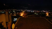 ada : Night Budva, Montenegro. The new town, the view from the highest mountain Stok Video