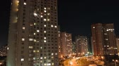 government district : Night city. Multi-storey houses at night. Kiev, Ukraine