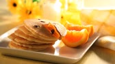 блины : Pancakes withorange and maple syrup