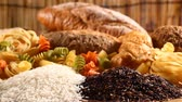 hidratos de carbono : Various mix of rice and bread Stock Footage