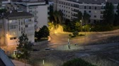 yuvarlak : Night fast traffic in Lisbon suburbs Stok Video