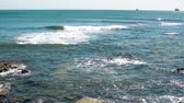 renk : Atlantic ocean waves work for surfers Stok Video