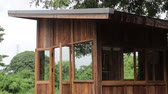 Eco friendly hut in raining day, stock footage