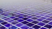 Blue mosaic tile floor of swimming pool, stock footage Wideo
