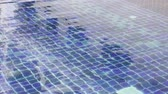 Blue swimming pool mosaic tile floor, stock footage