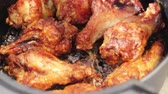 Air fryer homemade crispy chicken wings, stock footage