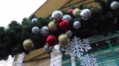 Christmas decoration balls in outdoor park, stock footage