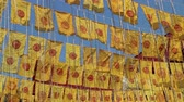 Pray merit ceremony flags in Thai public temple, stock footage