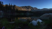 Purple Lake - Sunrises on granite peaks above a Sierra Nevada mountain lake.