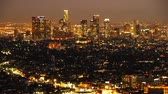 commute : Downtown Los Angeles Skyline Twilight Time Lapse Tilt Down Stock Footage