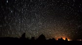 radial : Astrophotography Time Lapse of Star Trails over Tufa Towers Tilt Up