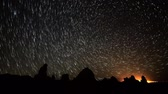 radial : Astrophotography Time Lapse of Star Trails over Tufa Towers Zoom In
