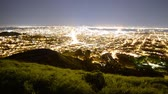 söprés : Motion Control Dolly Time Lapse of Bay Area Cityscape at Night Zoom Out Stock mozgókép