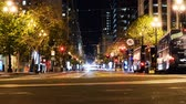 defne : Time Lapse of Market Street at Night in San Francisco Zoom In Stok Video