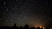 astro photography : 4K Astrophotography Time Lapse of Star Trails over Tufa Towers Tilt Down