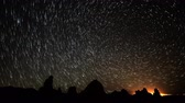 radial : 4K Astrophotography Time Lapse of Star Trails over Tufa Towers Zoom In Stock Footage