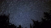 astro photography : 4K astrophotography time lapse with tilt down motion of star trails over alpine pine tree forest in Crystal Lake, California Stock Footage