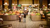 Time lapse footage of shoppers at historic Grand Central Market in downtown Los Angeles, California