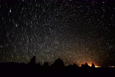 radial : 4K Astrophotography Time Lapse of Star Trails over Tufa Towers Full Frame