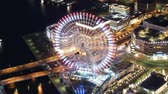 time : Time lapse footage of waterfront cityscape shot from Yokohama Landmark Tower at night in Japan -close up 2-