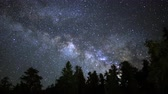 astrologia : Astrophotography time lapse footage with pan left motion of Milky Way galaxy rising over Ancient Bristlecone Pine Trees through dawn in White Mountain, California