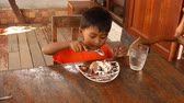 babies : Cute little boy eating ice cream Stock Footage