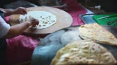 gozleme : Granny chef cook Turkish pancake Gozleme on the stove Stock Footage